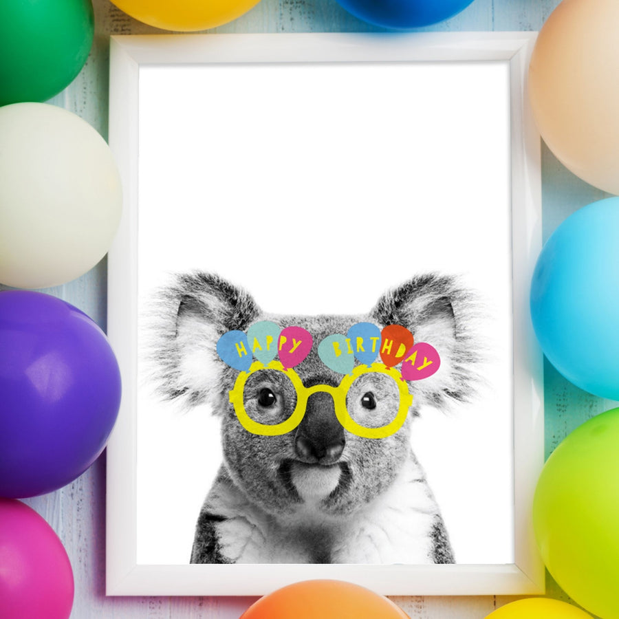 Koala Yellow Happy Birthday glasses Card-Stationary-Little Fish Co.