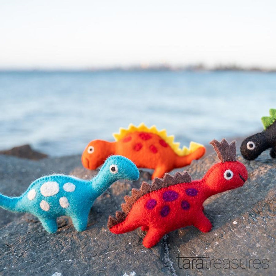 Orange Felt Dinosaur Toy-Fun-Little Fish Co.