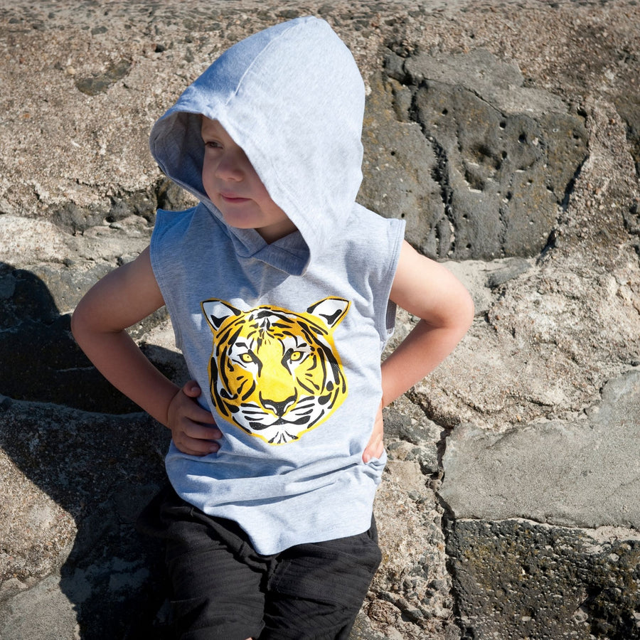 Grey Muscle Tee Hoody With Tiger Graphic-Fashion-Little Fish Co.