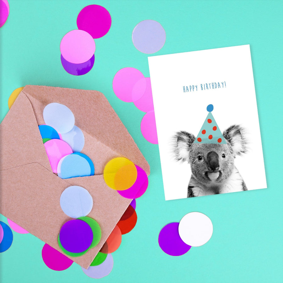 Koala Blue Birthday Hat Card-Stationary-Little Fish Co.