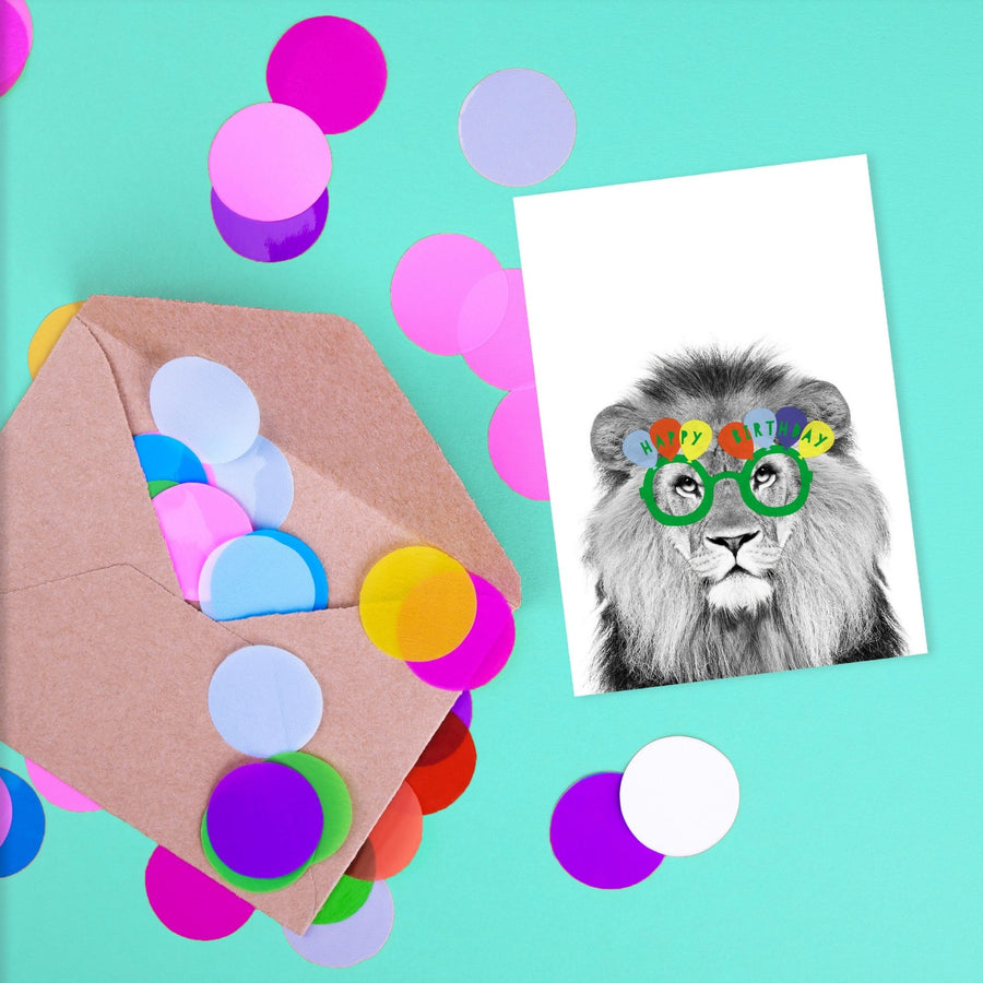 Lion Green Happy Birthday glasses Card-Stationary-Little Fish Co.