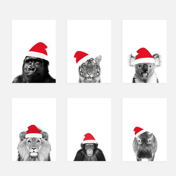 Set of 6 Animal Santa Hat Christmas gift Tags-Stationary-Little Fish Co.