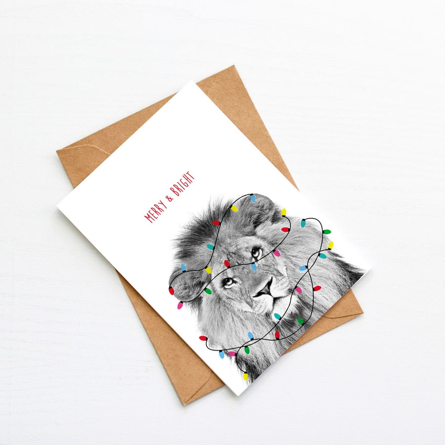 Lion Festive Lights Christmas Card-Stationary-Little Fish Co.