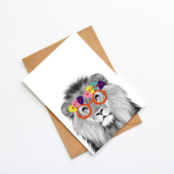 Lion Orange Happy Birthday glasses Card-Stationary-Little Fish Co.
