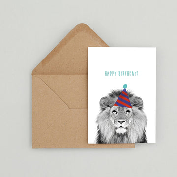 Lion Blue Stripe Birthday Hat Card-Stationary-Little Fish Co.