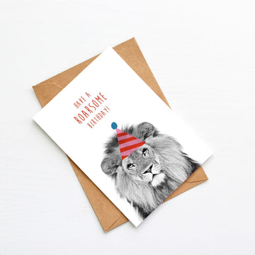 Lion Pink Stripe Birthday Hat Card-Stationary-Little Fish Co.
