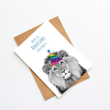 Lion Rainbow Stripe Birthday Hat Card-Stationary-Little Fish Co.
