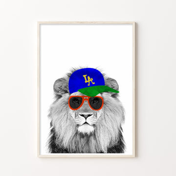 Lion LA Hipster Print-Art-Little Fish Co.