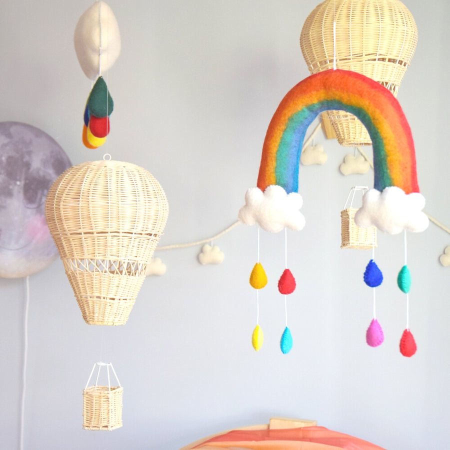 Rainbow Nursery Mobile with Raindrops-Fun-Little Fish Co.
