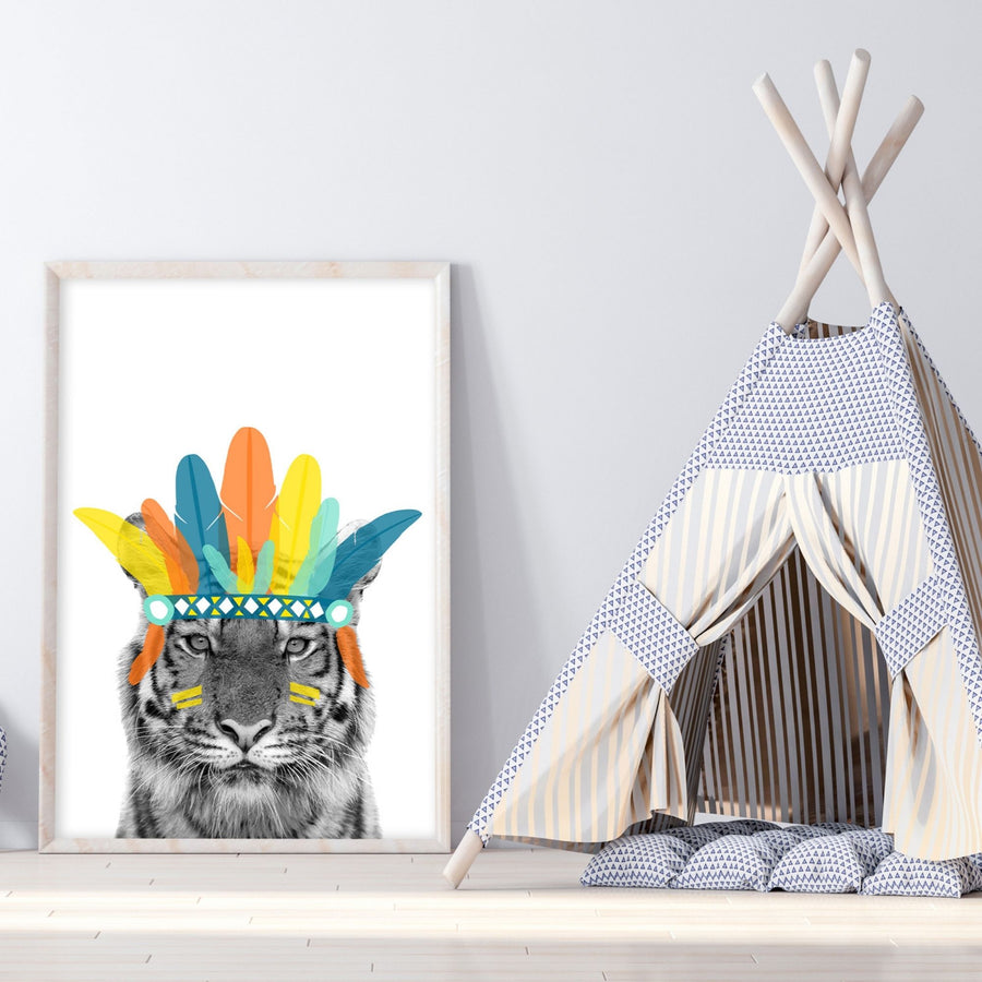 Chief Tiger Yellow Print-Art-Little Fish Co.