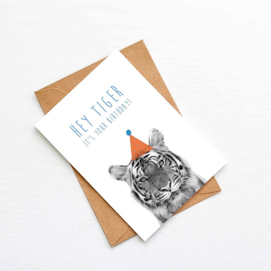 Tiger Orange Birthday Hat Card-Stationary-Little Fish Co.