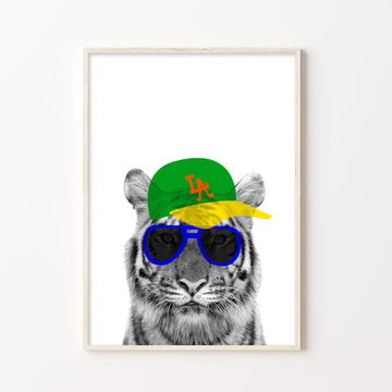Tiger LA Hipster Print-Art-Little Fish Co.