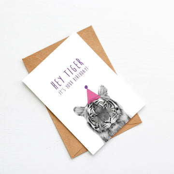 Tiger Pink Birthday Hat Card-Stationary-Little Fish Co.