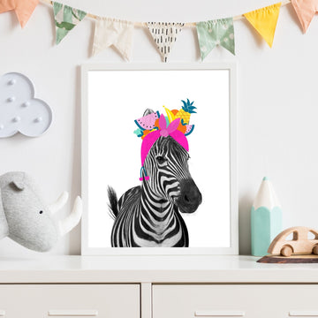 Zebra Tutti Fruity-Art-Little Fish Co.