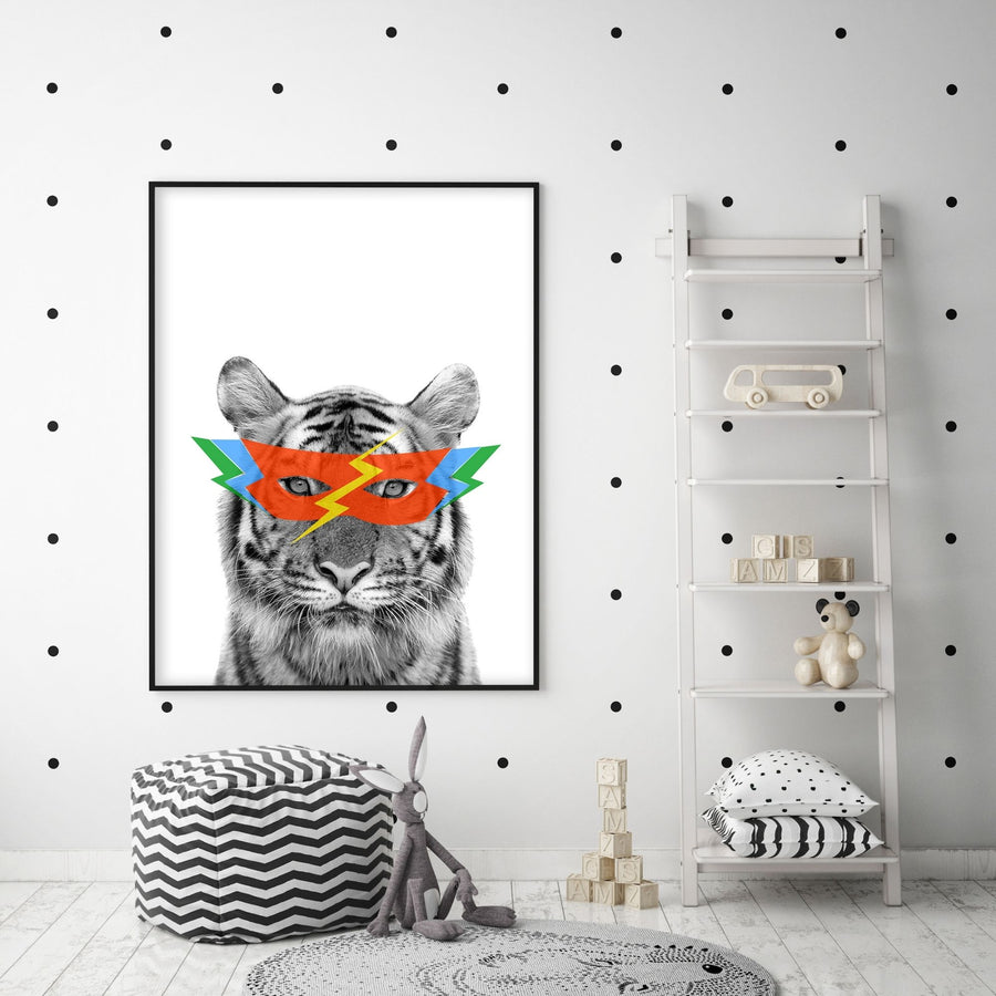 Tiger Super Hero Print-Art-Little Fish Co.
