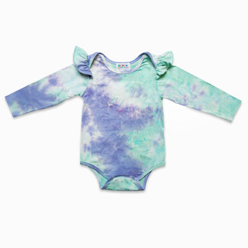 Mint Flutter Sleeve Tie Dye Romper-Fashion-Little Fish Co.