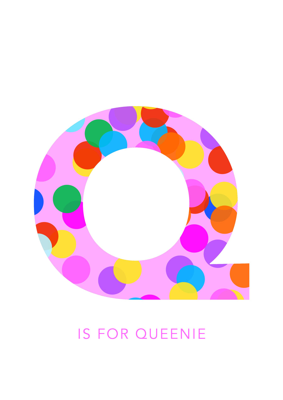 Q Confetti Letter-Art-Little Fish Co.