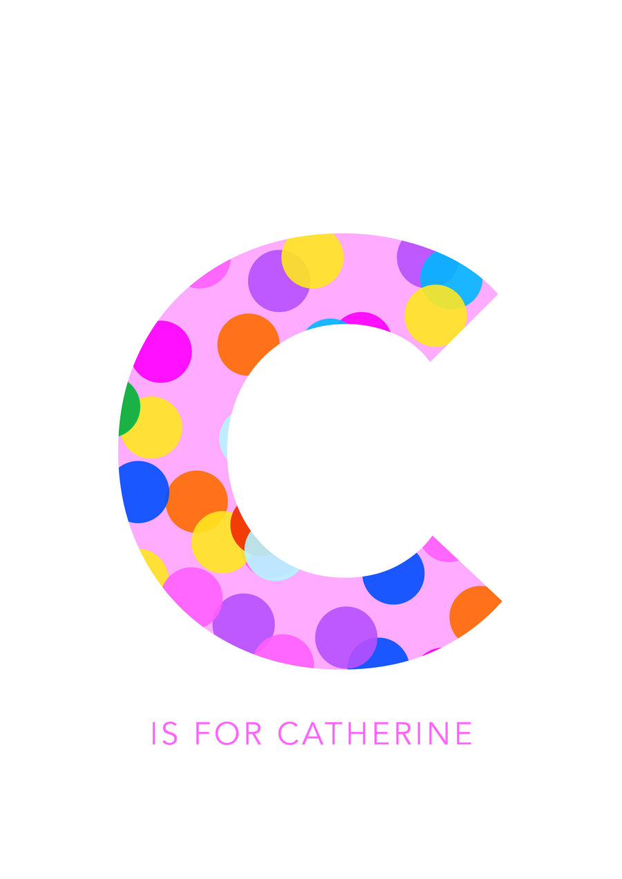 C Confetti Letter-Art-Little Fish Co.