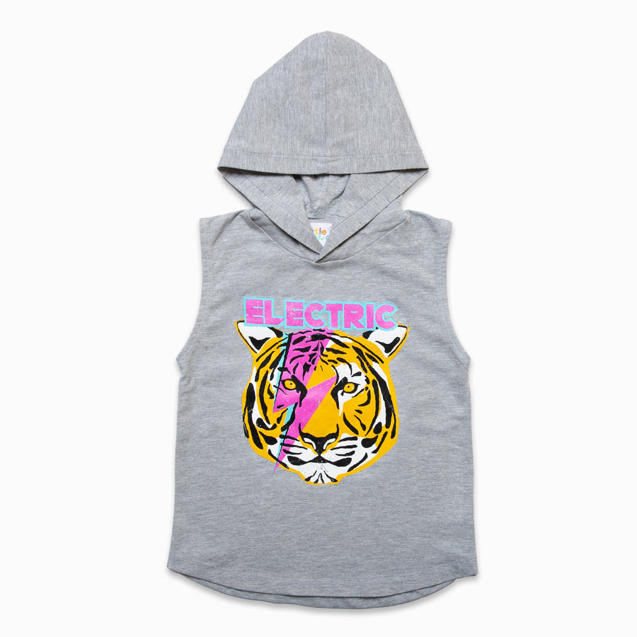 Grey Muscle Tee Hoody With Electric Graphic-Fashion-Little Fish Co.