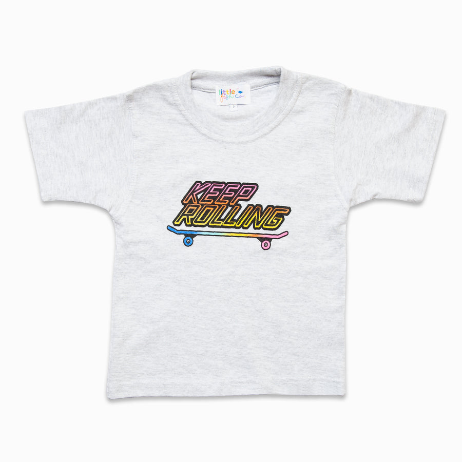 Keep Rolling Grey Marle Tee-Fashion-Little Fish Co.