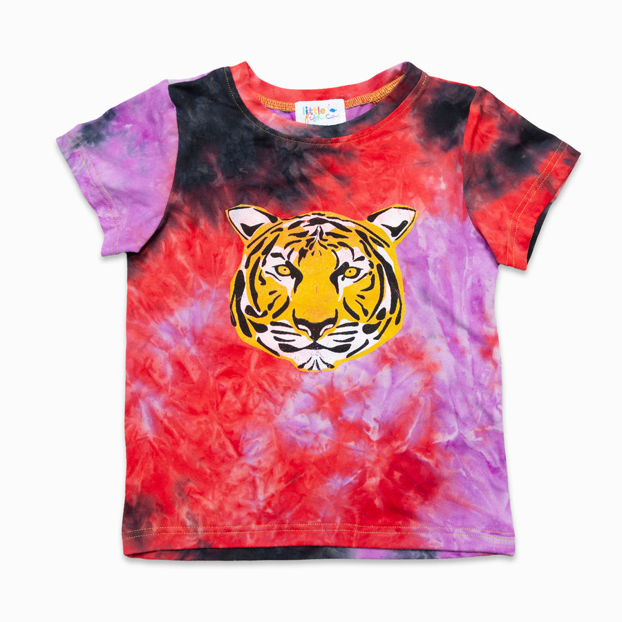 Red / Black Tie Dye Tee With Tiger Graphic-Fashion-Little Fish Co.
