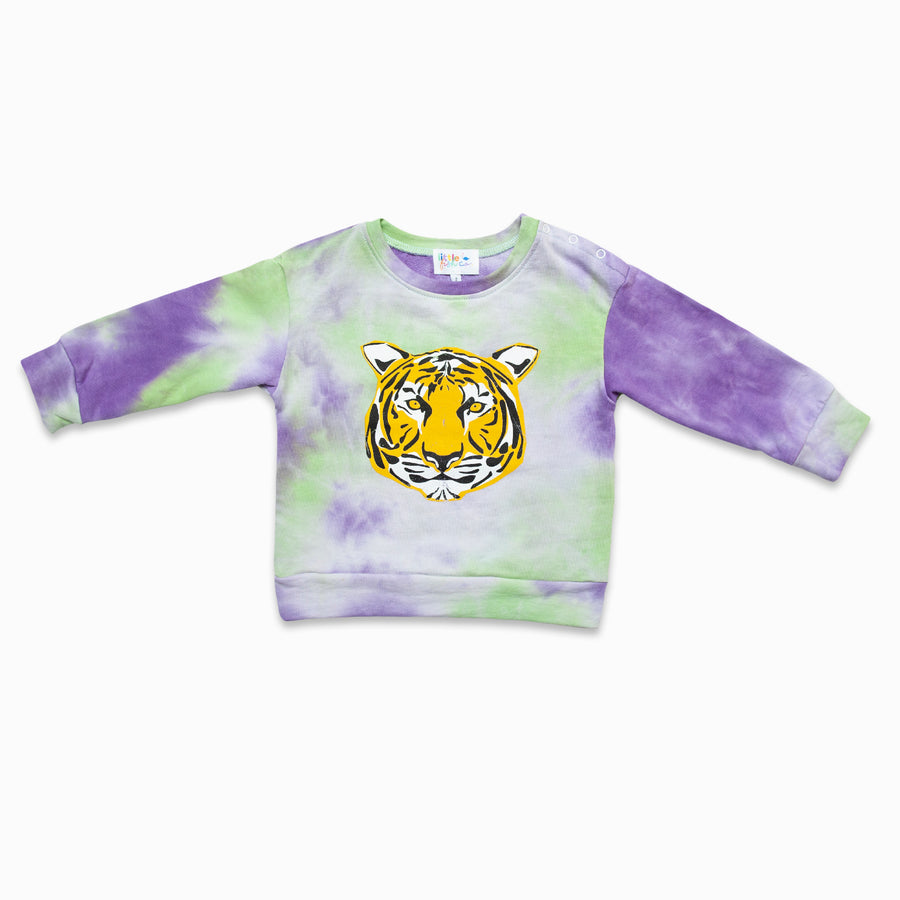 Mint / Lilac Tie Dye Tiger Graphic Jumper-Fashion-Little Fish Co.