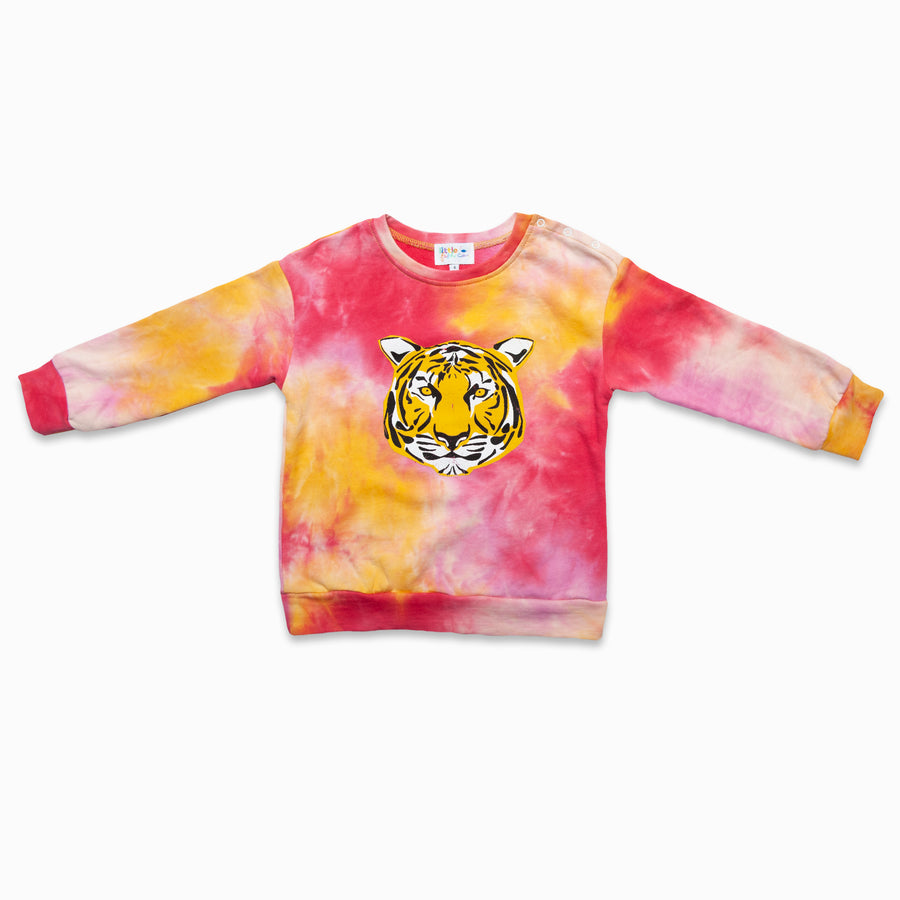 Red / Yellow Tie Dye Tiger Graphic Jumper-Fashion-Little Fish Co.