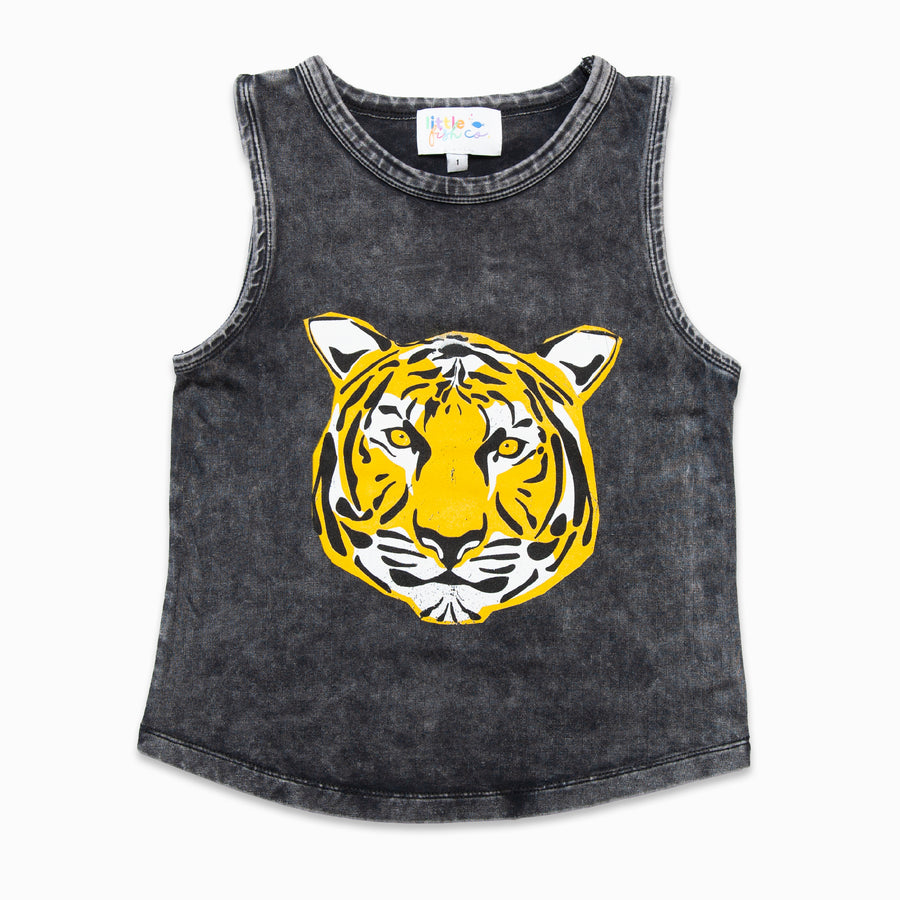 Stone Wash Muscle Tee Tiger Print-Fashion-Little Fish Co.