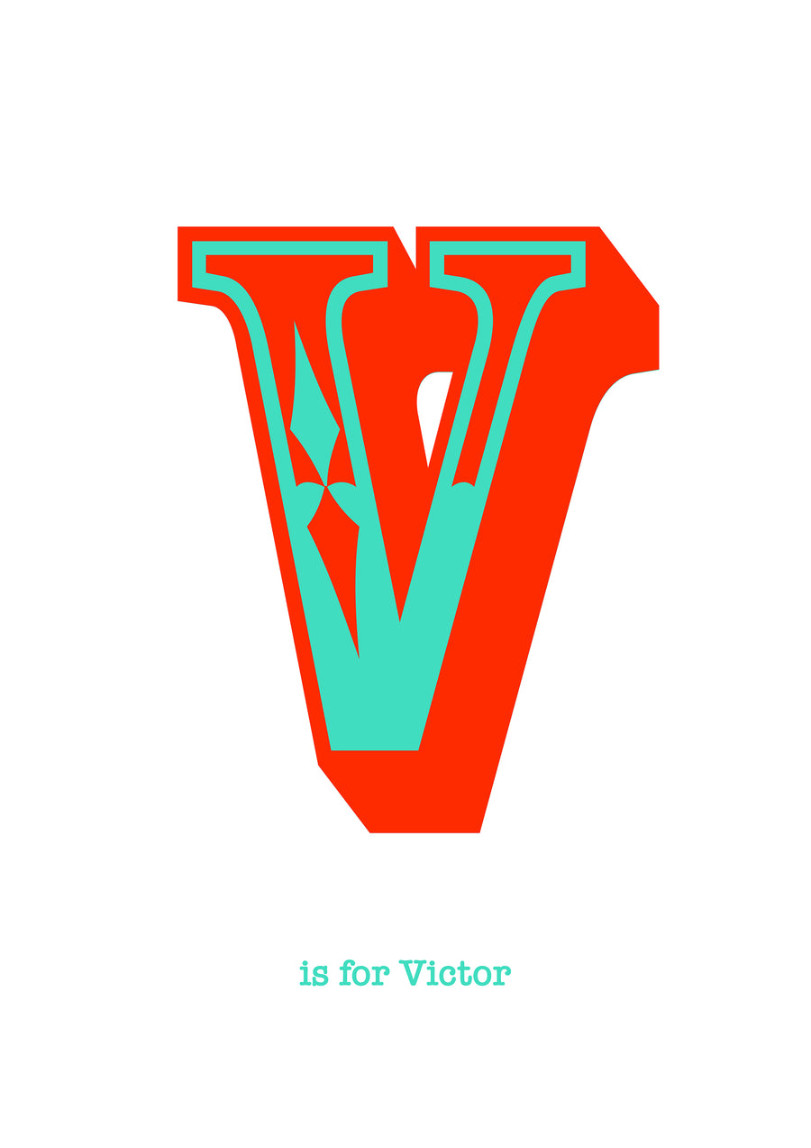 western Orange Letter V Print-Art-Little Fish Co.