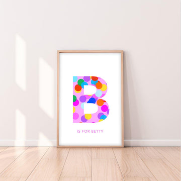 B Confetti Letter-Art-Little Fish Co.