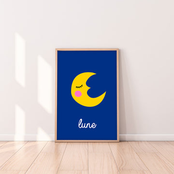 French Moon Art Print-Art-Little Fish Co.