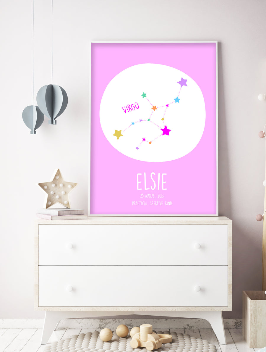 Virgo Constellation Print Multi Colour-Art-Little Fish Co.
