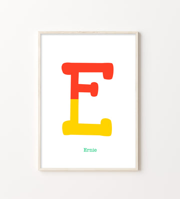 Two Tone Letter E Print-Art-Little Fish Co.
