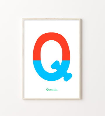 Two Tone Letter Q Print-Art-Little Fish Co.