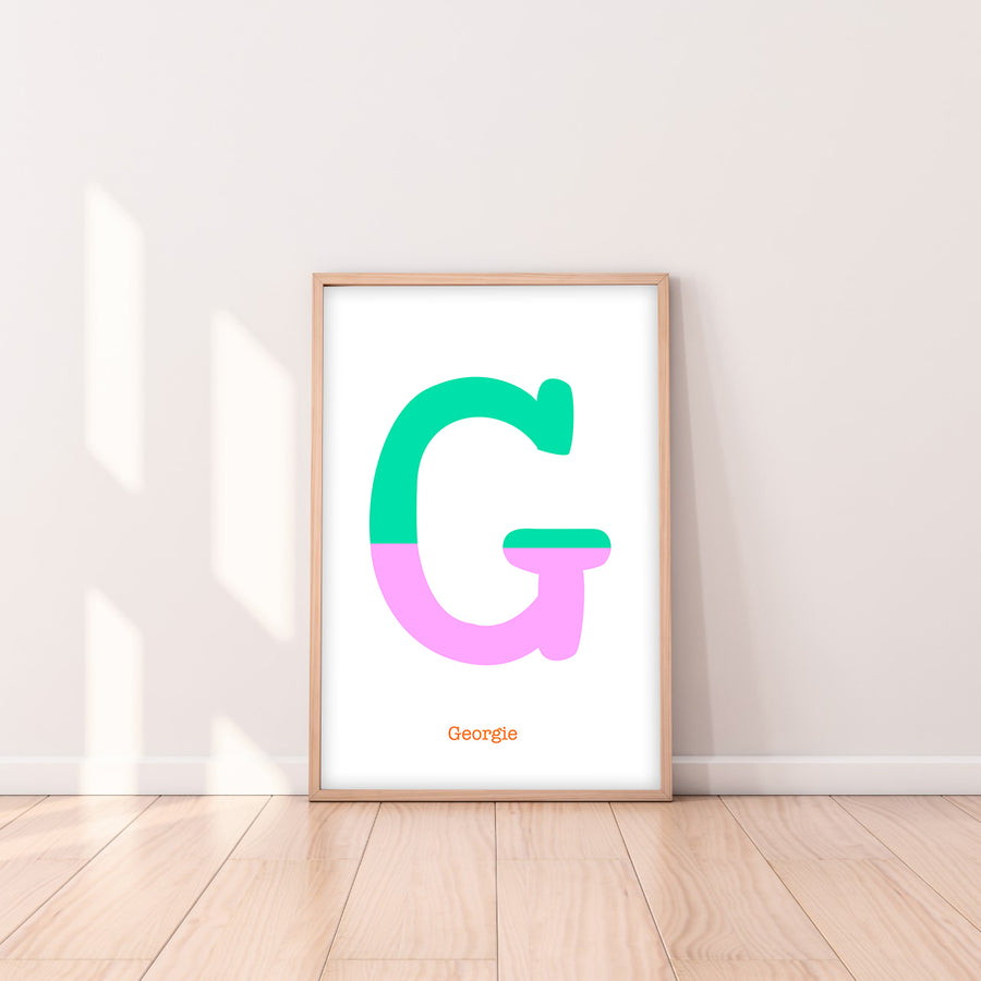 Two Tone Letter G Print-Art-Little Fish Co.