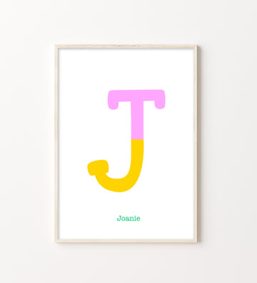 Two Tone Letter J Print-Art-Little Fish Co.