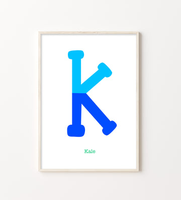 Two Tone Letter K Print-Art-Little Fish Co.