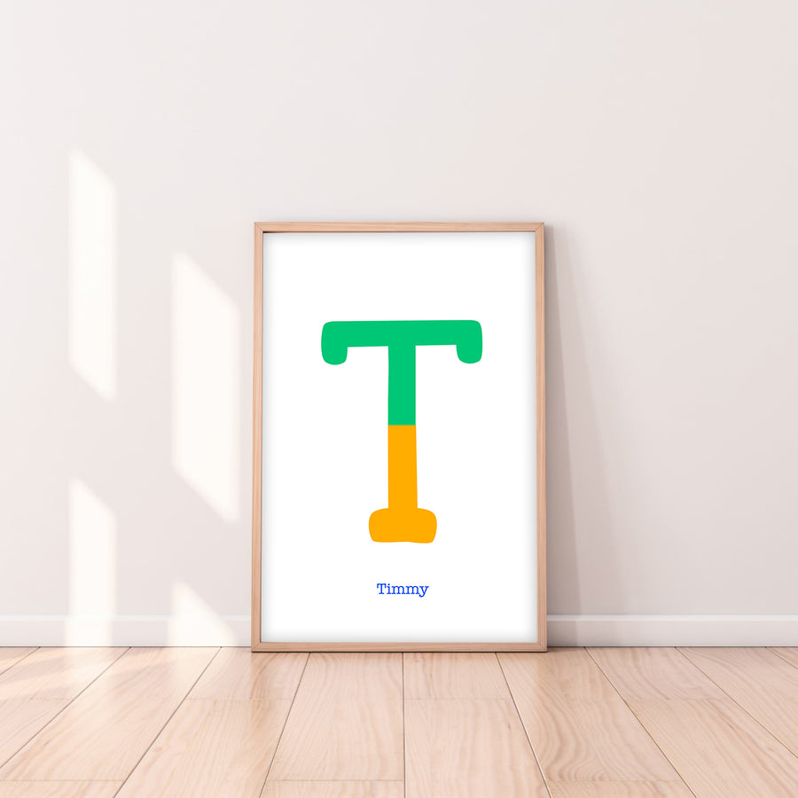 Two Tone Letter T Print-Art-Little Fish Co.