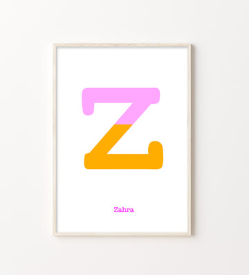 Two Tone Letter Z Print-Art-Little Fish Co.