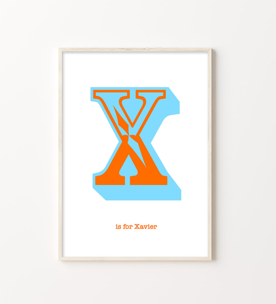 Western Orange Letter X Print-Art-Little Fish Co.