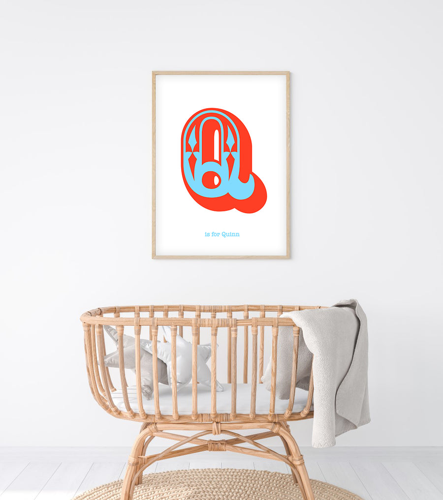 Western Blue Letter Q Print-Art-Little Fish Co.