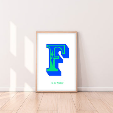 Western Blue Letter F Print-Art-Little Fish Co.