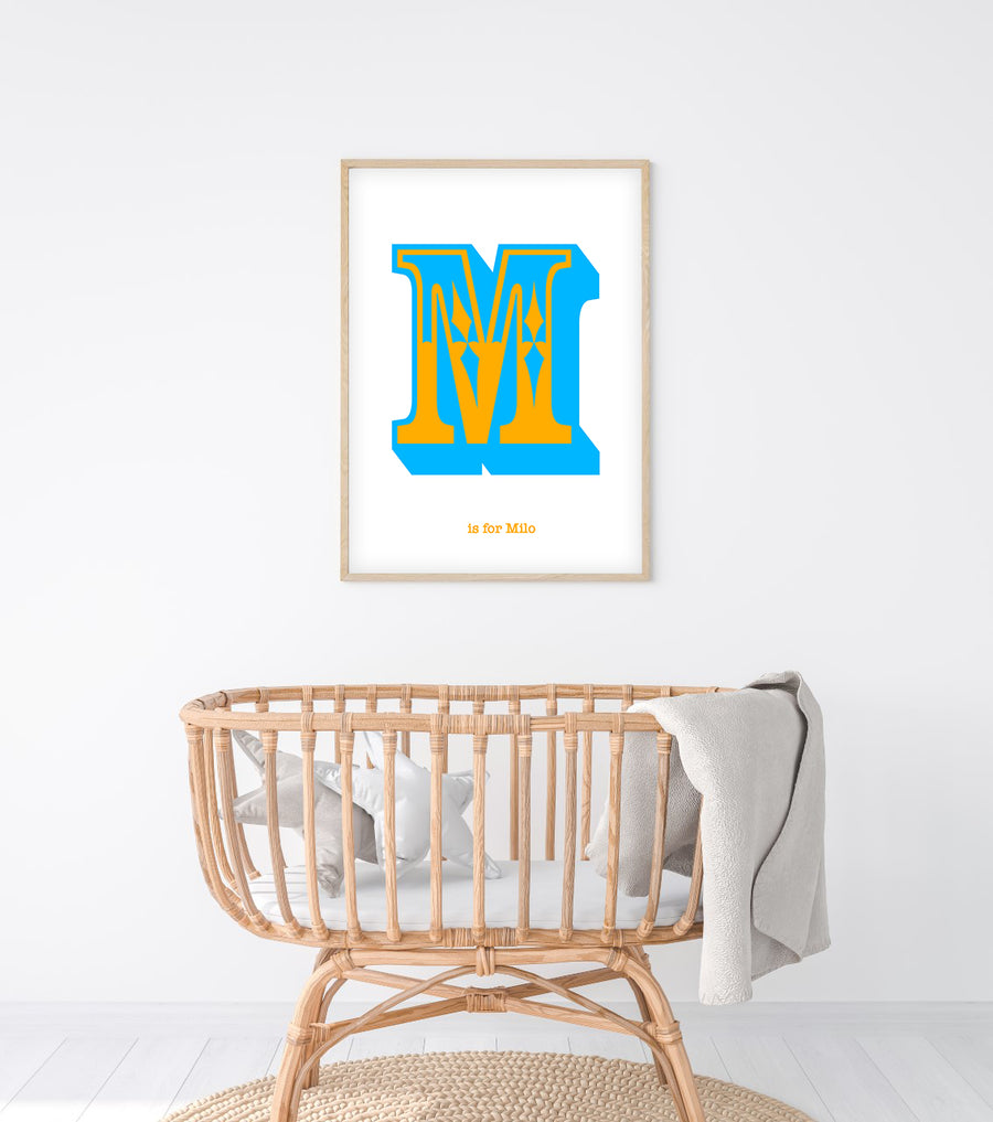 Western Blue Letter M Print-Art-Little Fish Co.