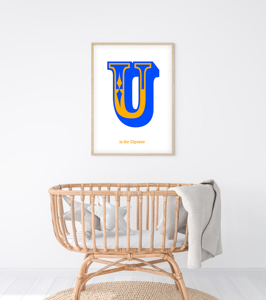 Western Blue Letter U Print-Art-Little Fish Co.
