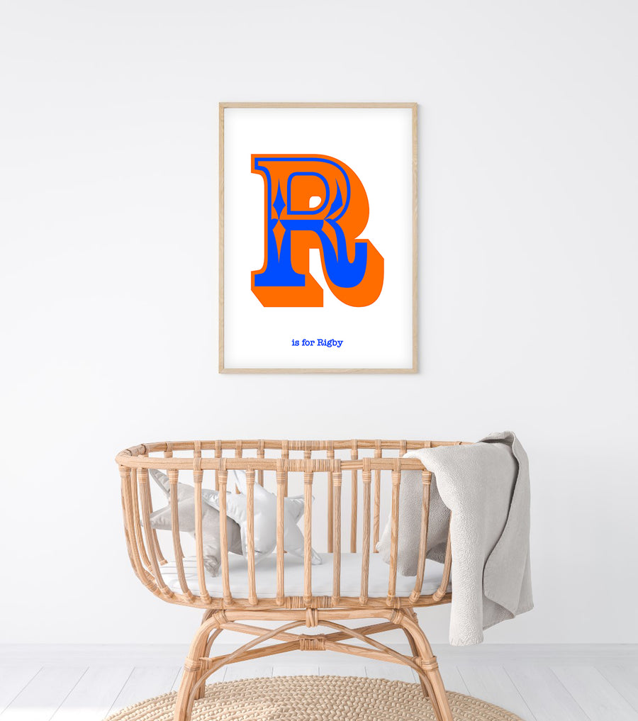 Western Blue Letter R Print-Art-Little Fish Co.
