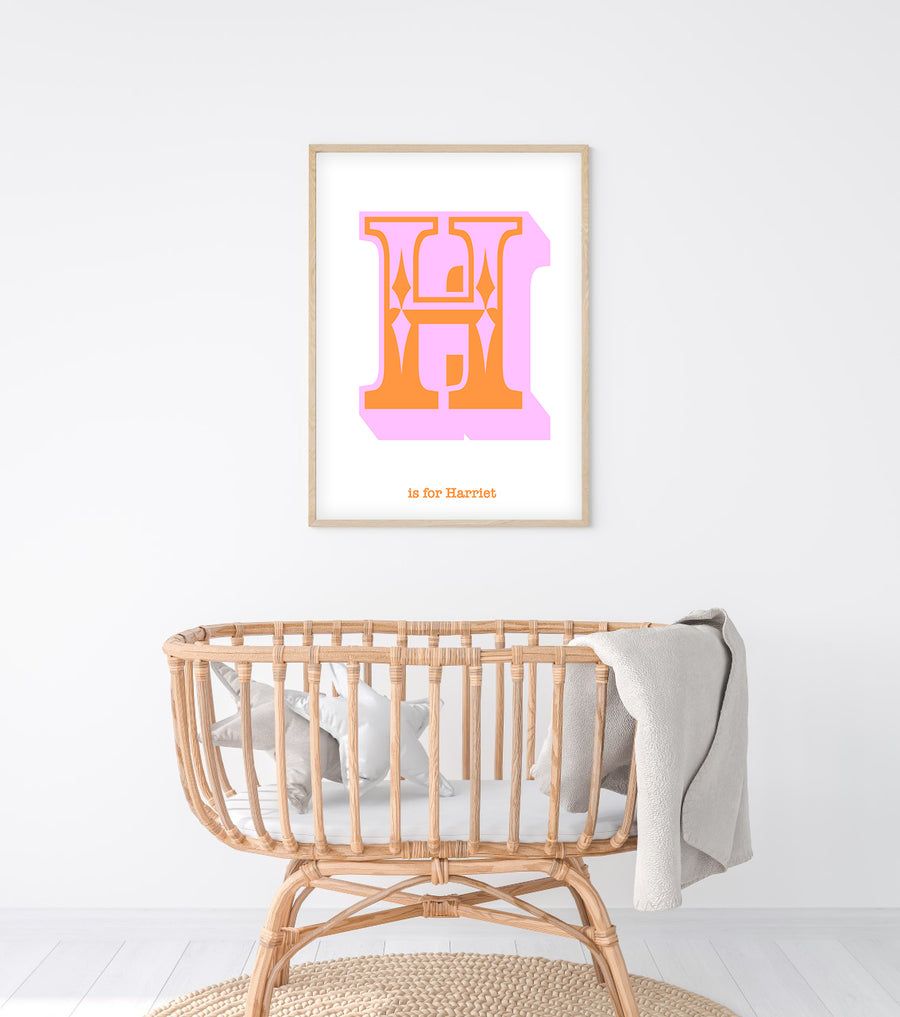 Western Pink Letter H Print-Art-Little Fish Co.