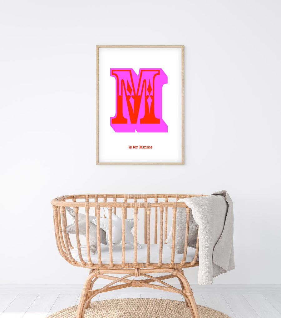 Western Pink Letter M Print-Art-Little Fish Co.