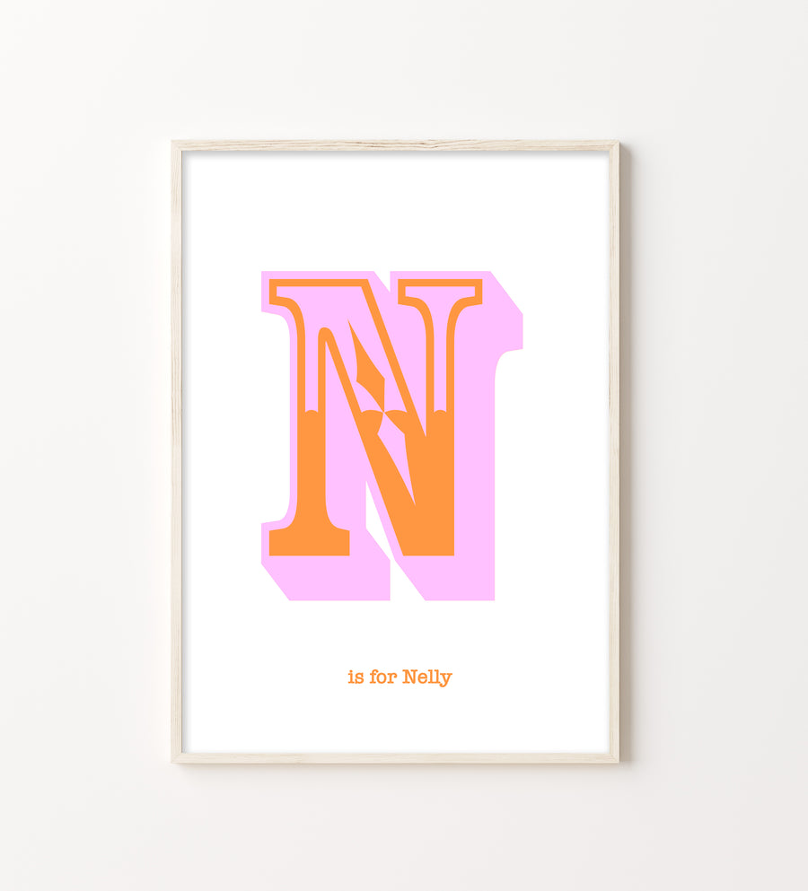 Western Pink Letter N Print-Art-Little Fish Co.
