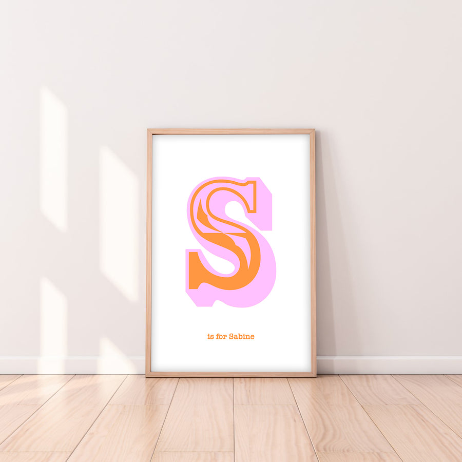 Western Pink Letter S Print-Art-Little Fish Co.