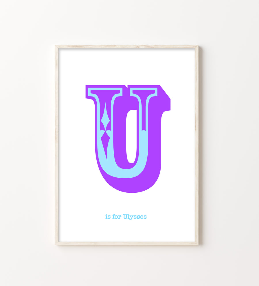 Western Purple Letter U Print-Art-Little Fish Co.